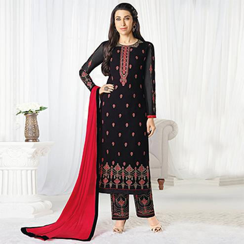 Elegant Black Designer Embroidered Faux Georgette Salwar Suit