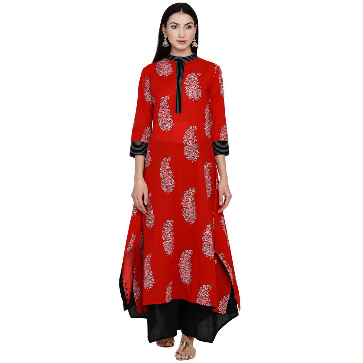 Fabnest - Women Red Colored Thread Work Floral Paisley Print Cotton Assymetric Kurti