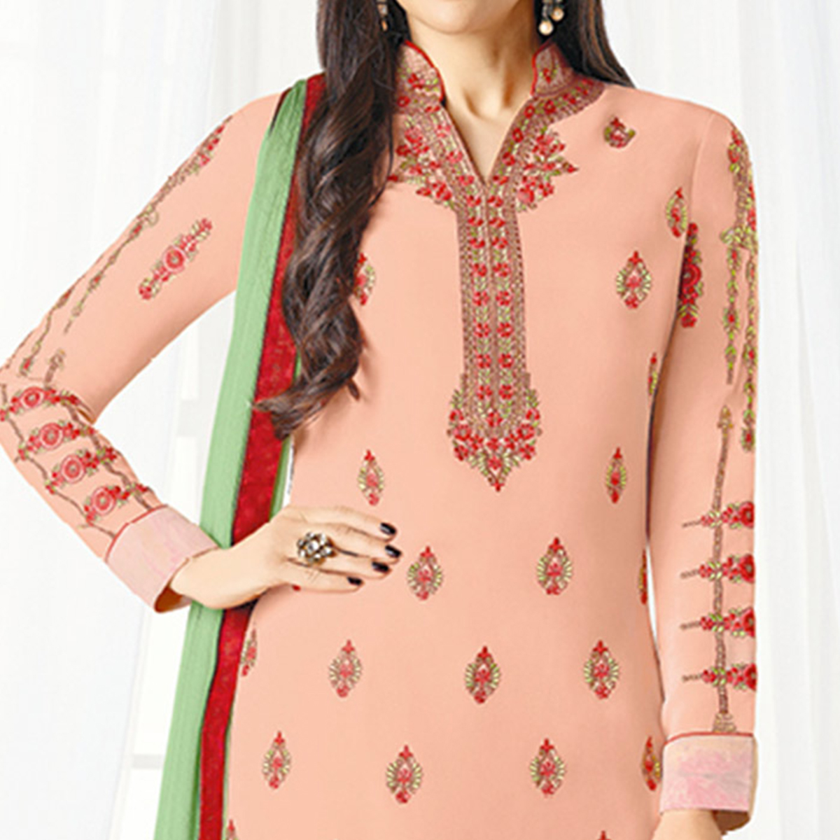 Stunning Peach Designer Embroidered Faux Georgette Salwar Suit