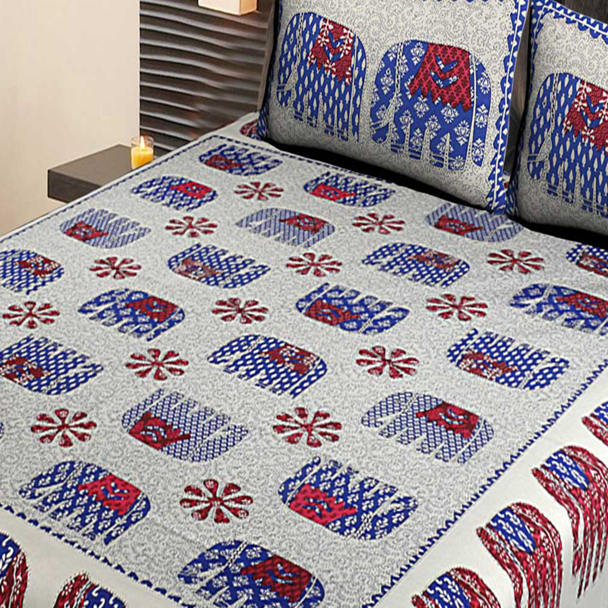 AJ Home - White-Blue Colored Printed Cotton Double Bedsheet With 2 Pillow Cover