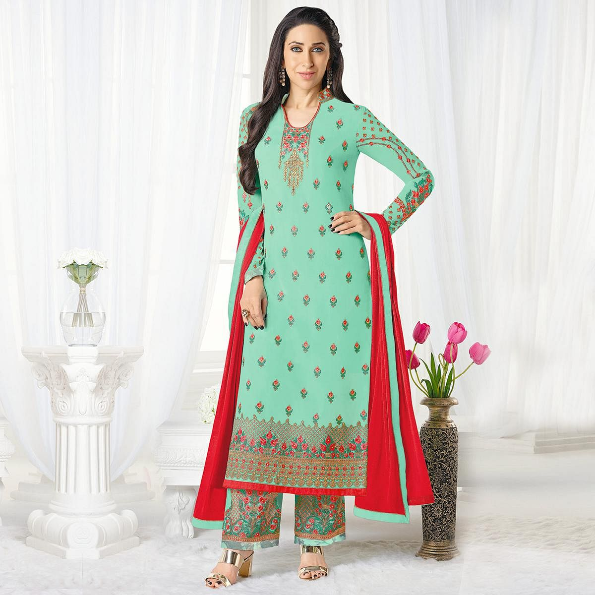 6be9b45497 Buy Appealing Green Designer Embroidered Faux Georgette Salwar Suit Online  India, Best Prices, Reviews - Peachmode