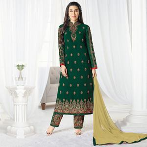 Stylish Bottle Green Designer Embroidered Faux Georgette Salwar Suit