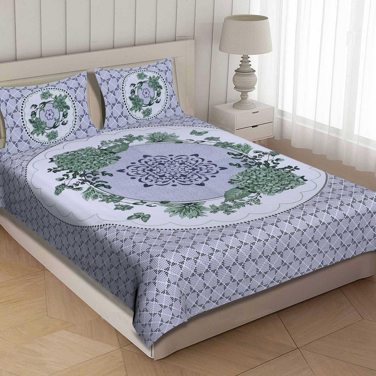 AJ Home - Green Colored Printed Cotton King Size Bedsheet With 2 Pillow Cover