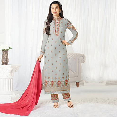 Adorable Gray Designer Embroidered Faux Georgette Salwar Suit