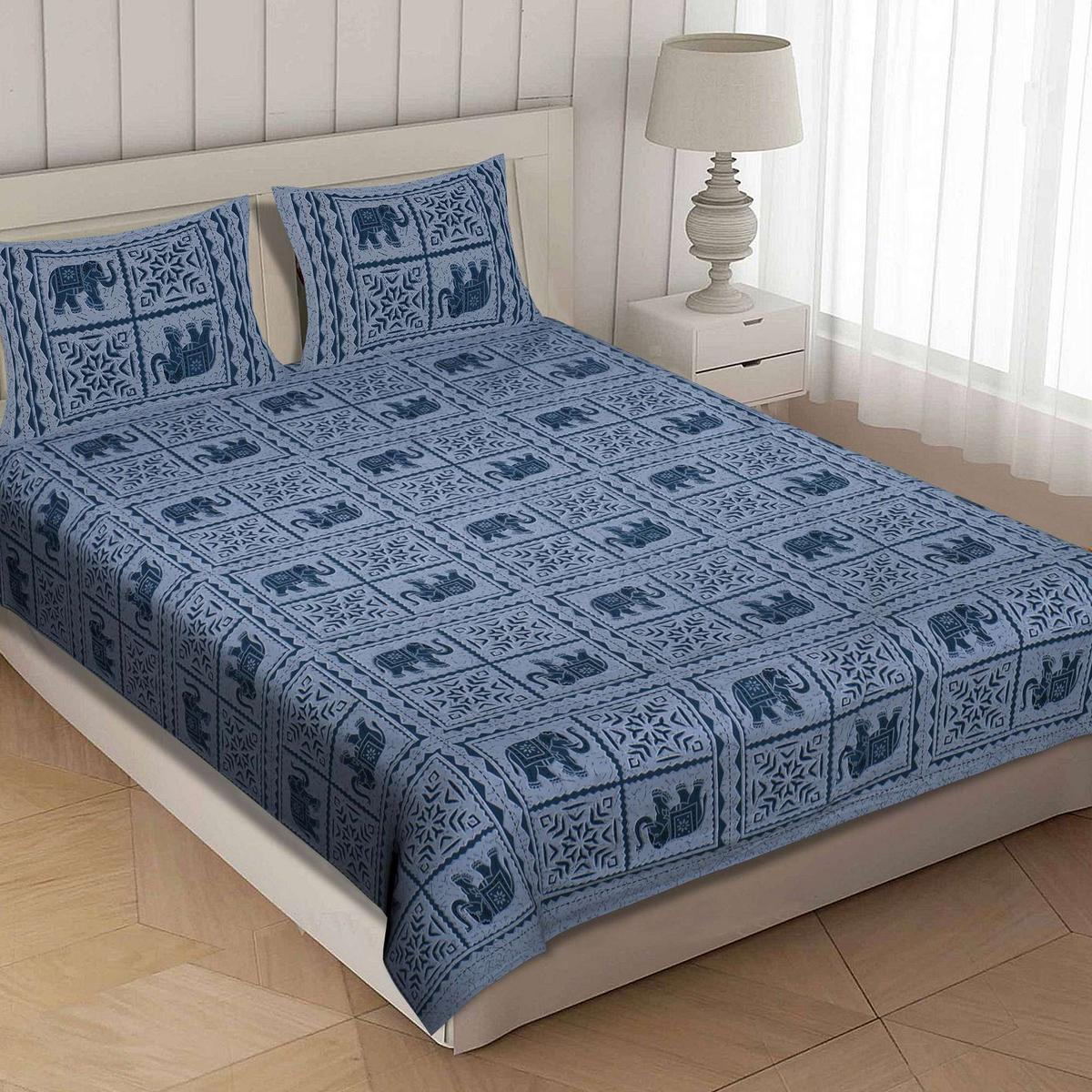 AJ Home - Blue Colored Printed Cotton King Size Bedsheet With 2 Pillow Cover