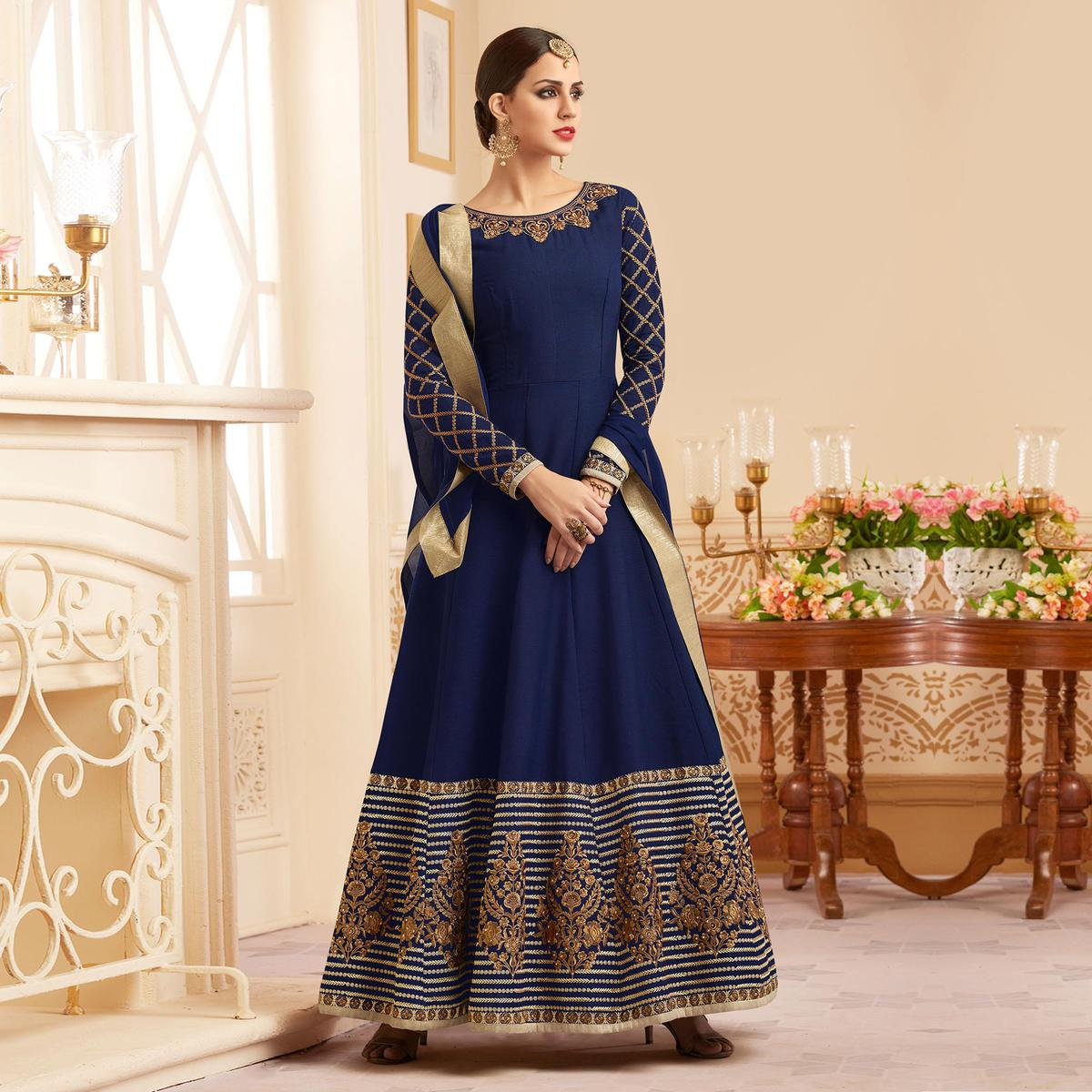 Beautiful Blue Designer Embroidered Heavy Silk Abaya Style Anarkali Suit