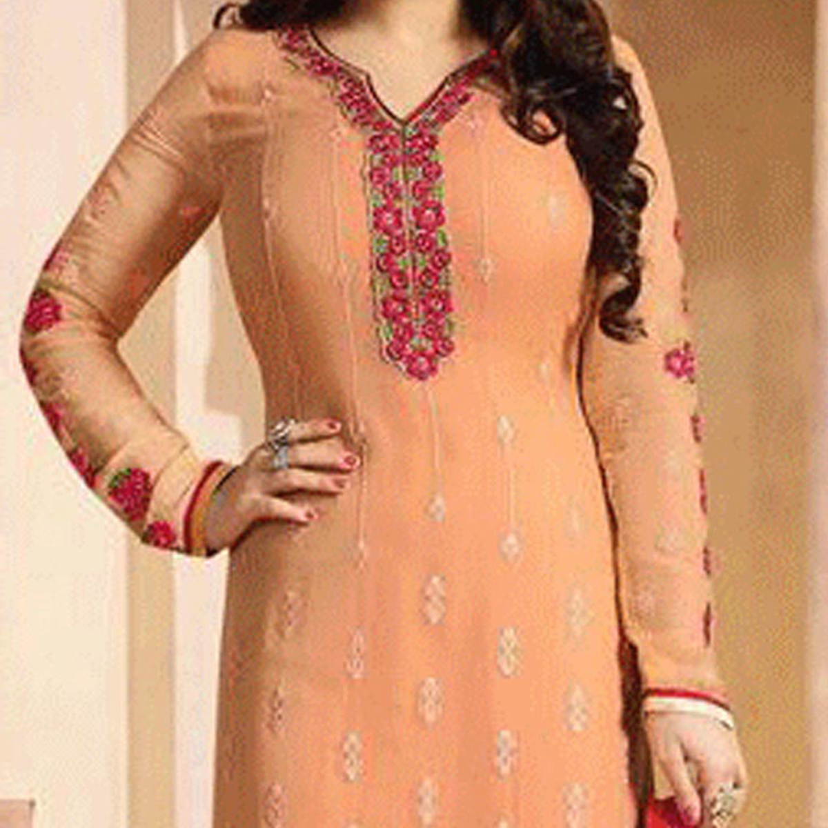 Orange Embroidered Georgette Suit
