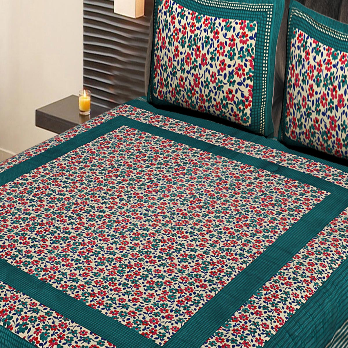 AJ Home - Green Colored Printed Cotton Double Bedsheet With 2 Pillow Cover