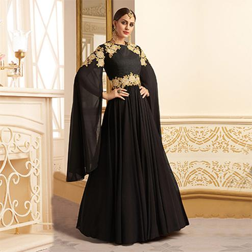 Stunning Black Designer Embroidered Heavy Silk Abaya Style Anarkali Suit