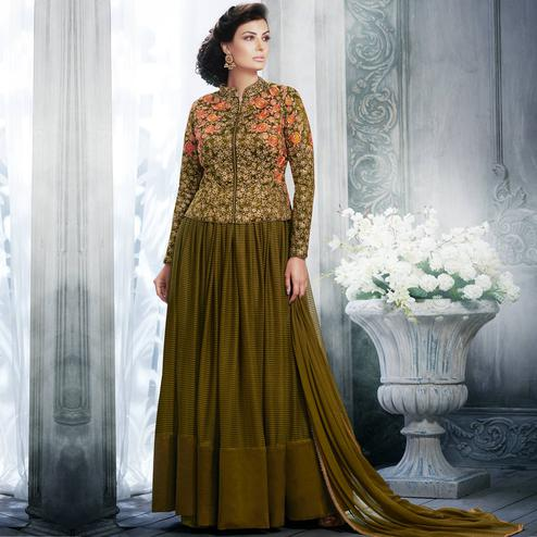NAKKASHI - Dark Olive Green Colored Party Wear Embroidered Raw Silk Jacket Style Anarkali Suit
