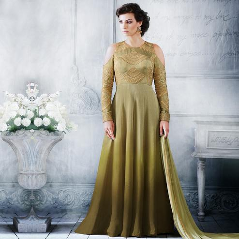 NAKKASHI - Green Colored Party Wear Embroidered Ankle Length Raw Silk Anarkali Suit