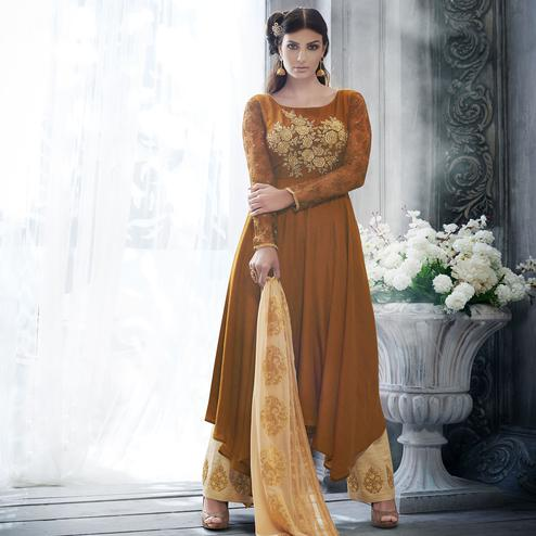 NAKKASHI - Brown Colored Party Wear Embroidered Calf Length Raw Silk Palazzo Suit