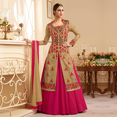 Classy Beige Designer Embroidered Heavy Silk Anarkali Suit