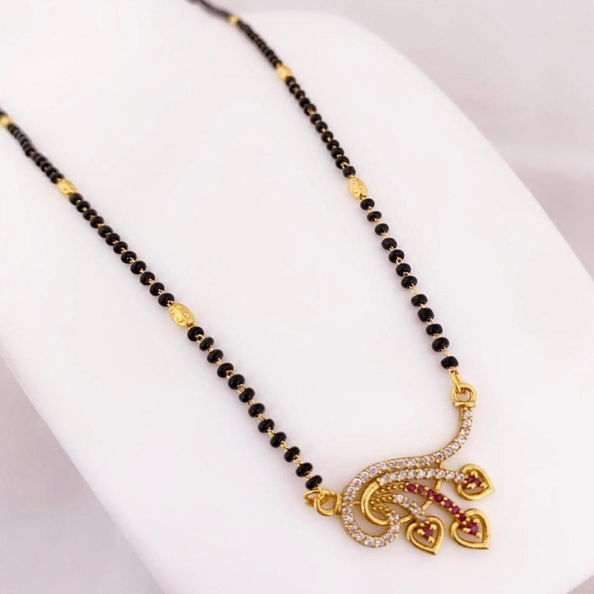 Radiant Gold Plated American Diamond Traditional Copper Mangalsutra