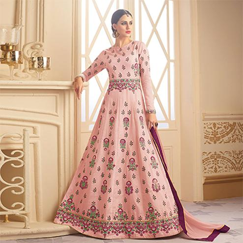 Graceful Pink Designer Embroidered Heavy Silk Anarkali Suit