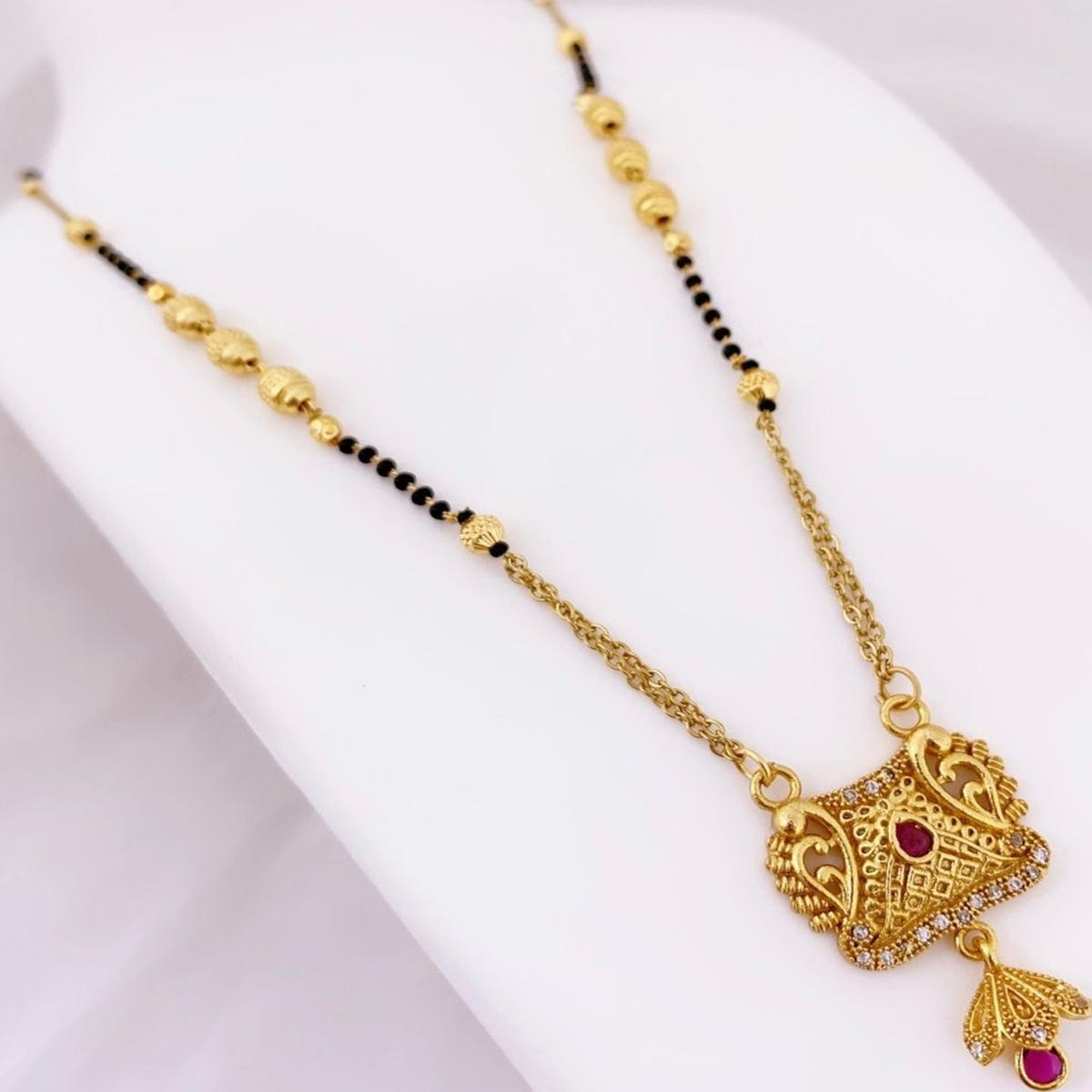 Flamboyant Gold Plated American Diamond Traditional Copper Mangalsutra