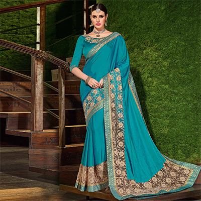 Blue Colored Designer Partywear Embroidered Silk Saree