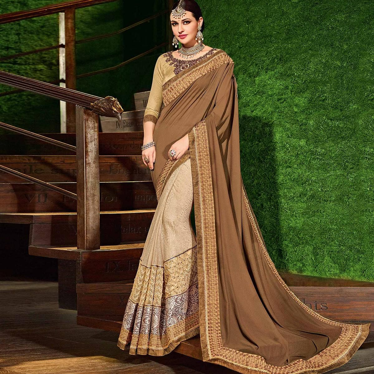 Brown-Beige Colored Designer Partywear Embroidered Georgette And Jacquard Saree