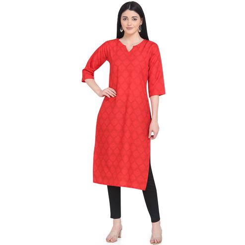 Adorable Red Colored Casual Wear Printed Calf Length Crepe Kurti