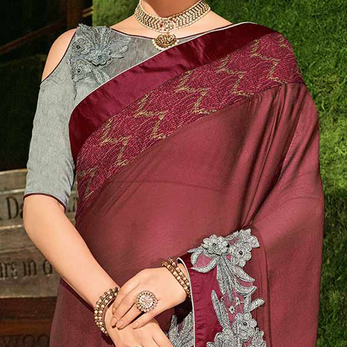 Maroon Colored Designer Partywear Embroidered Georgette Saree