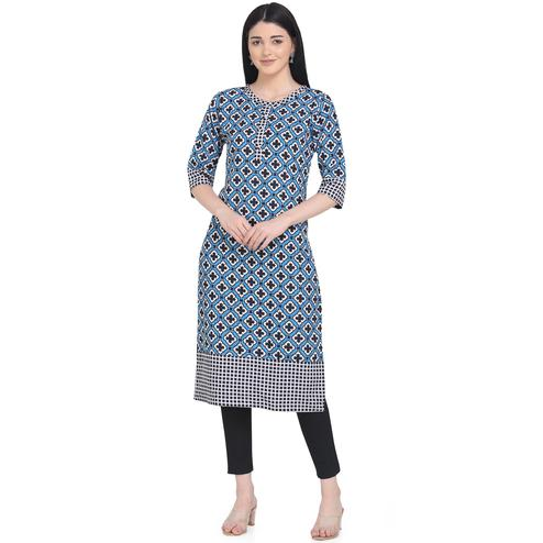 Attractive Blue Colored Casual Wear Printed Calf Length Crepe Kurti