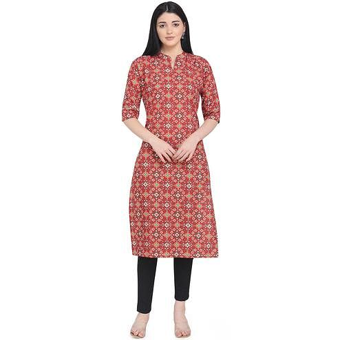 Beautiful Dark Red Colored Casual Wear Printed Calf Length Crepe Kurti