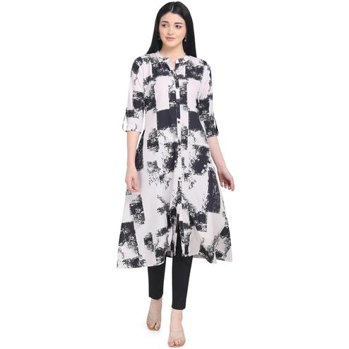 Graceful White Colored Casual Wear Printed Calf Length Crepe Kurti