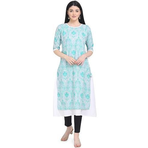 Blooming Turquoise Colored Casual Wear Printed Calf Length Crepe Kurti