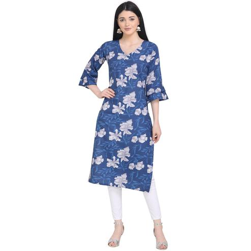Jazzy Blue Colored Casual Wear Printed Calf Length Crepe Kurti