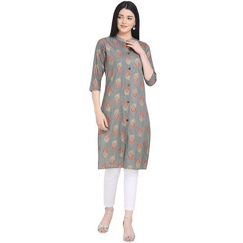 Delightful Grey Colored Casual Wear Printed Calf Length Cotton Kurti