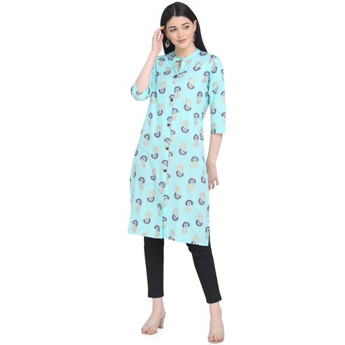 Captivating Turquoise Colored Casual Wear Printed Calf Length Cotton Kurti