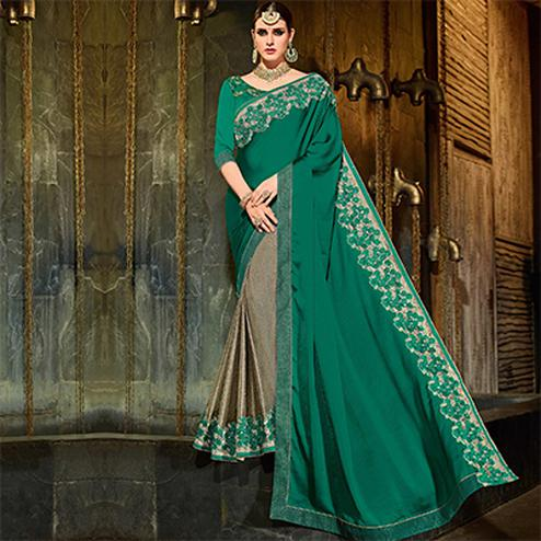 Green-Brown Colored Designer Partywear Embroidered Georgette And Lycra Saree