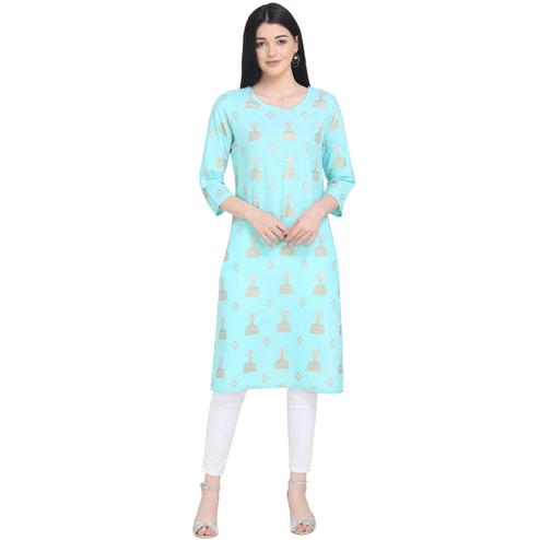 Innovative Turquoise Colored Casual Wear Printed Calf Length Cotton Kurti