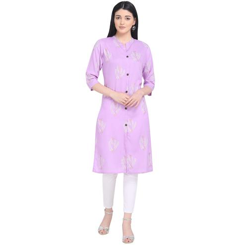 Amazing Purple Colored Casual Wear Printed Calf Length Cotton Kurti