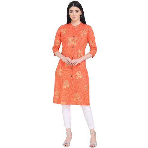 Gorgeous Red Colored Casual Wear Printed Calf Length Cotton Kurti