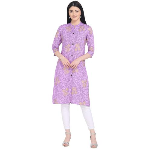 Blissful Violet Colored Casual Wear Printed Calf Length Cotton Kurti