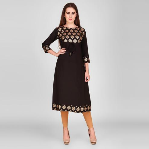 Imposing Black Colored Casual Wear Foil Printed Calf Length Crepe Kurti
