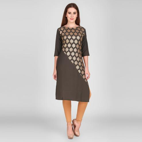 Majesty Coffee Brown Colored Casual Wear Foil Printed Calf Length Crepe Kurti