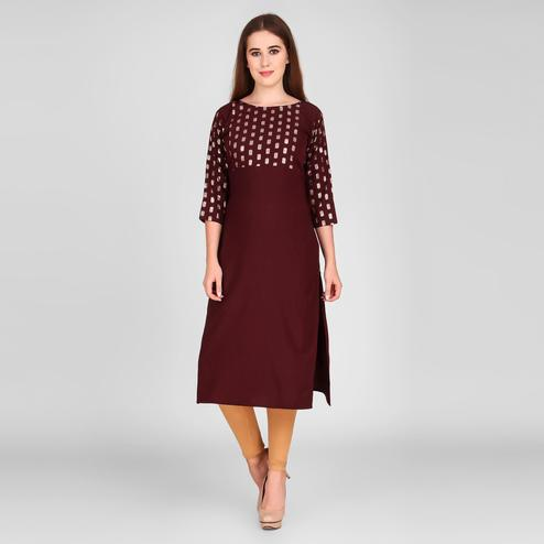 Pleasance Maroon Colored Casual Wear Foil Printed Calf Length Crepe Kurti
