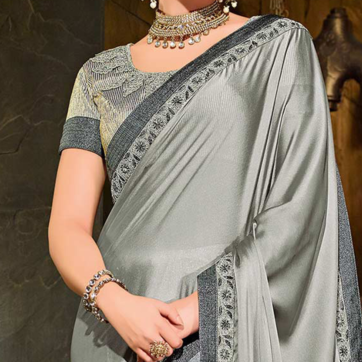Gray-Black Colored Designer Partywear Embroidered Georgette And Lycra Saree