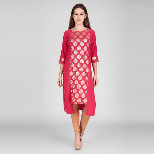 Magnetic Pink Colored Casual Wear Foil Printed Calf Length Crepe Kurti