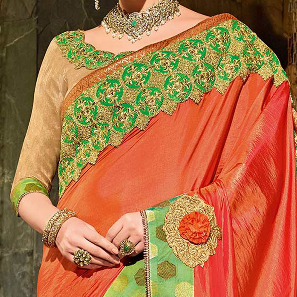 Orange Colored Designer Partywear Embroidered Silk Saree