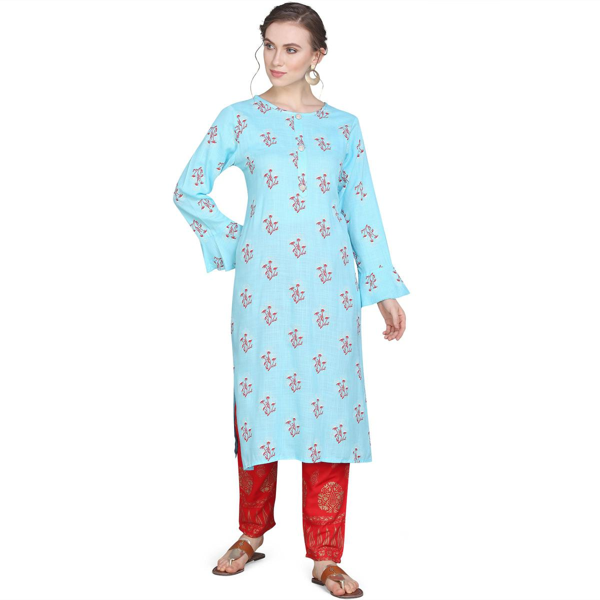 Pleasant Turquoise Colored Casual Wear Printed Straight Calf Length Rayon Kurti-Pant Set