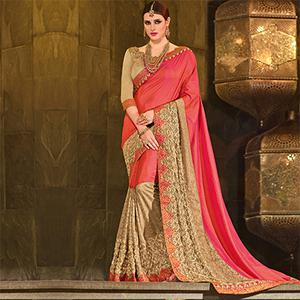 Pink-Beige Colored Designer Partywear Embroidered Silk And Lycra Saree