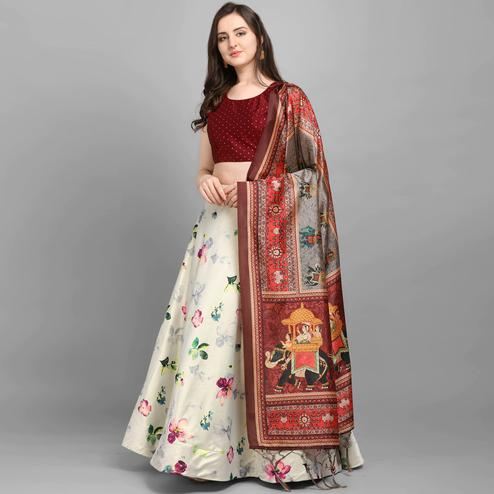 Mesmerising Beige - Maroon Colored Festive Wear Printed Poly Silk Lehenga Choli