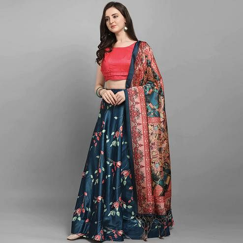 Pleasance Dark Blue - Peach Colored Festive Wear Printed Poly Silk Lehenga Choli