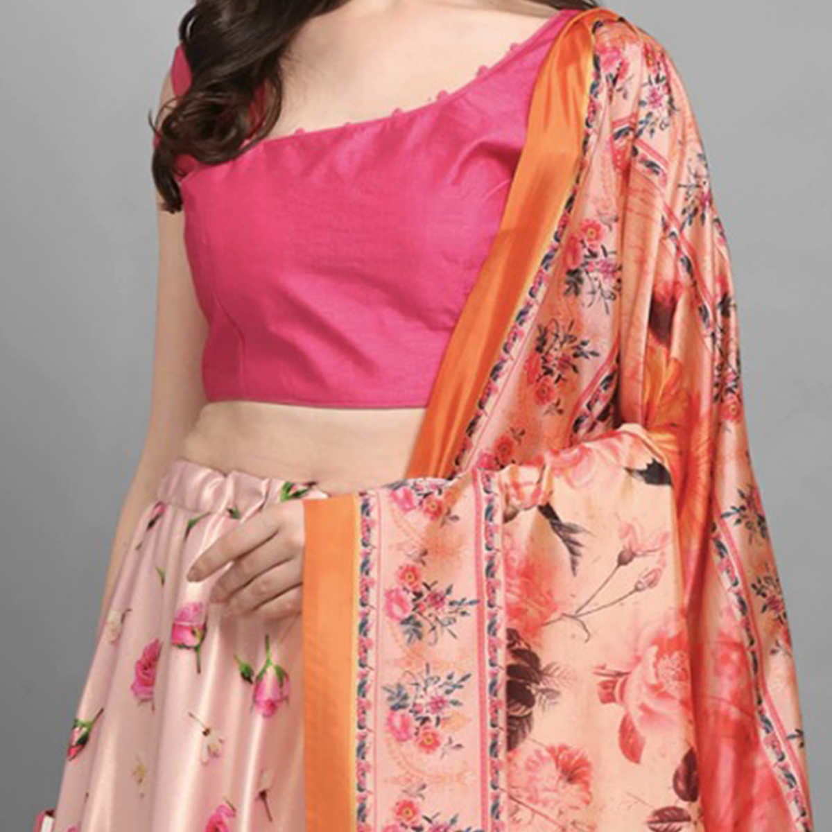 Breathtaking Pink Colored Festive Wear Printed Poly Silk Lehenga Choli