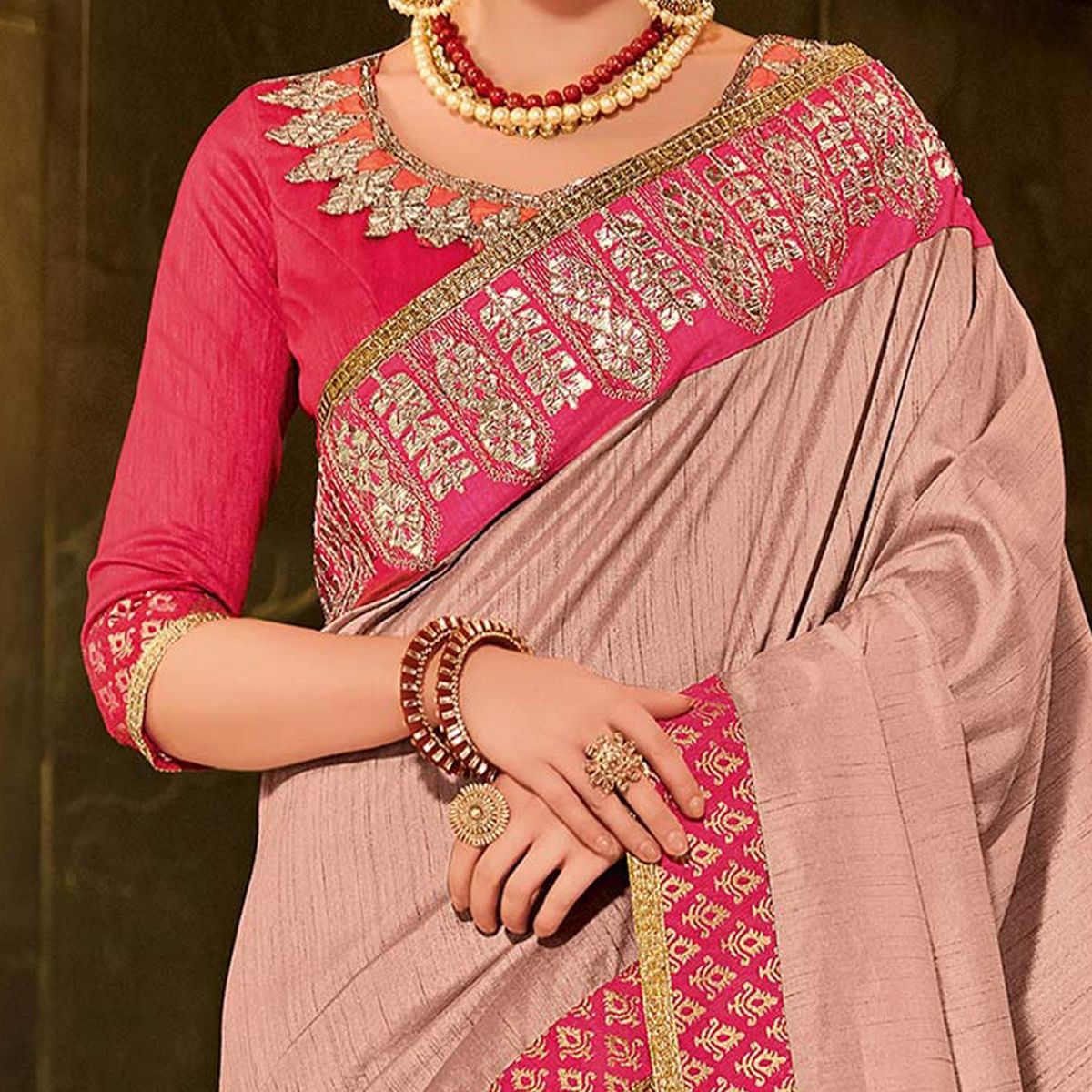 Pink Colored Designer Partywear Embroidered Silk Saree