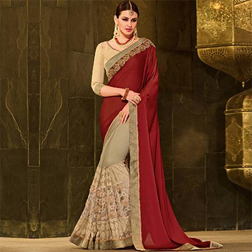 Maroon-Beige Colored Designer Partywear Embroidered Georgette Saree