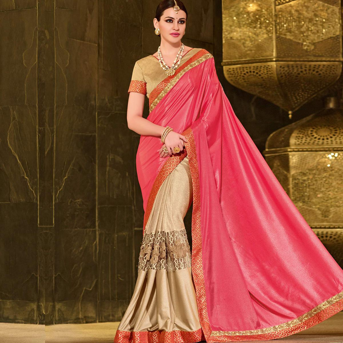 Pink-Beige Colored Designer Partywear Embroidered Crape And Lycra Saree